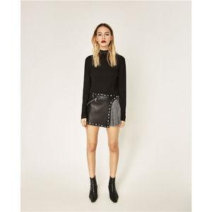NWT Zara Size XS/M Mini Faux Leather Skort RARE